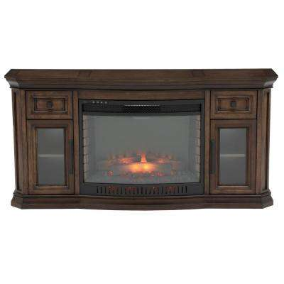 Georgian Hills 65 in. Bow Front TV Stand Infrared Electric Fireplace in Oak