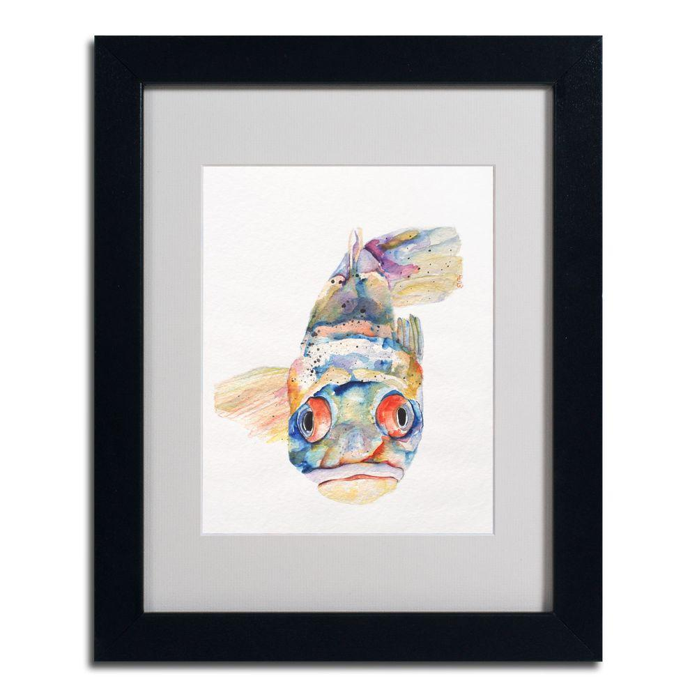 null 11 in. x 14 in. Blue Fish Black Framed Matted Art