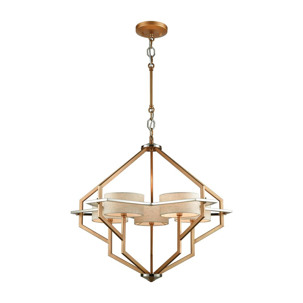 Titan Lighting Warrenton 5-Light Matte Gold With Polished