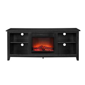 "58"" Rustic Farmhouse Fireplace TV Stand - Black"