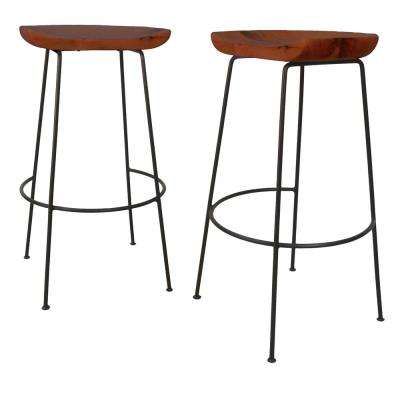 Diya 30.5 in. Chestnut Stationary Stool (Set of 2)