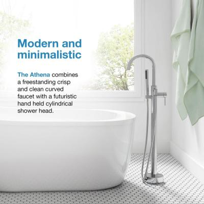Athena Single-Handle Floor-Mount Roman Tub Faucet with Hand Shower in Matte Black