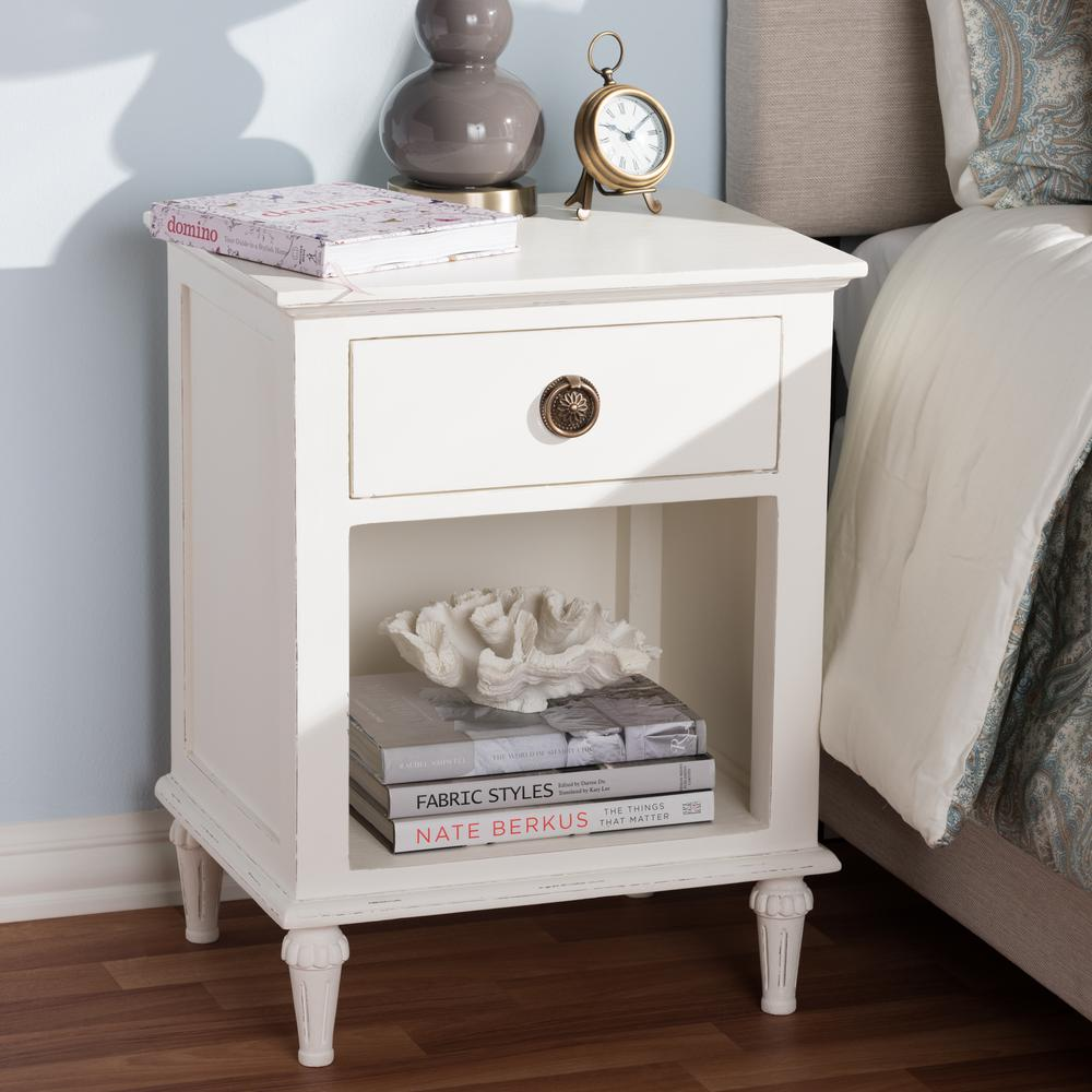 Venezia 1-Drawer 1-Shelf White Nightstand