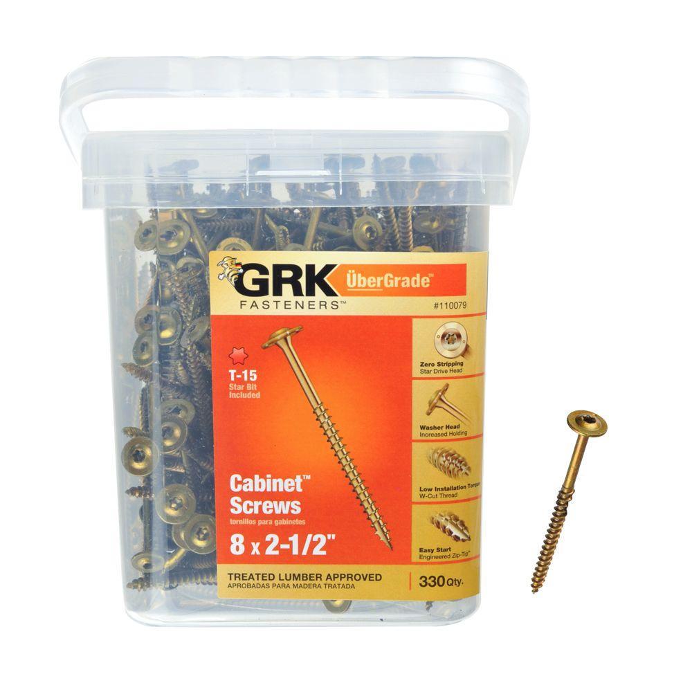 GRK Fasteners 8 in. x 2-1/2 in. Cabinet Screw (330-Piece per Pack)