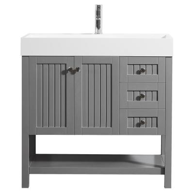 Pavia 36 in. W x 18 in. D Vanity in Grey with Acrylic Vanity Top in White with White Basin