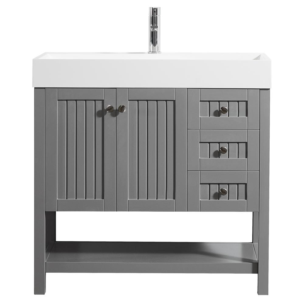 Pavia 36 in w x 18 in d vanity in grey with acrylic vanity top in white with white basin for 36 x 18 bathroom vanity cabinet