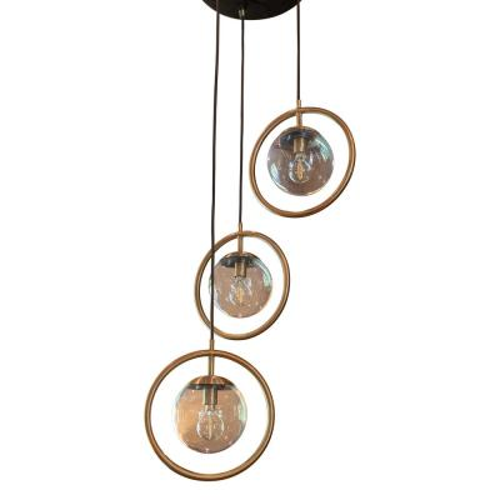 Griggs Globe 3-Light Black and Antique Brass Pendant