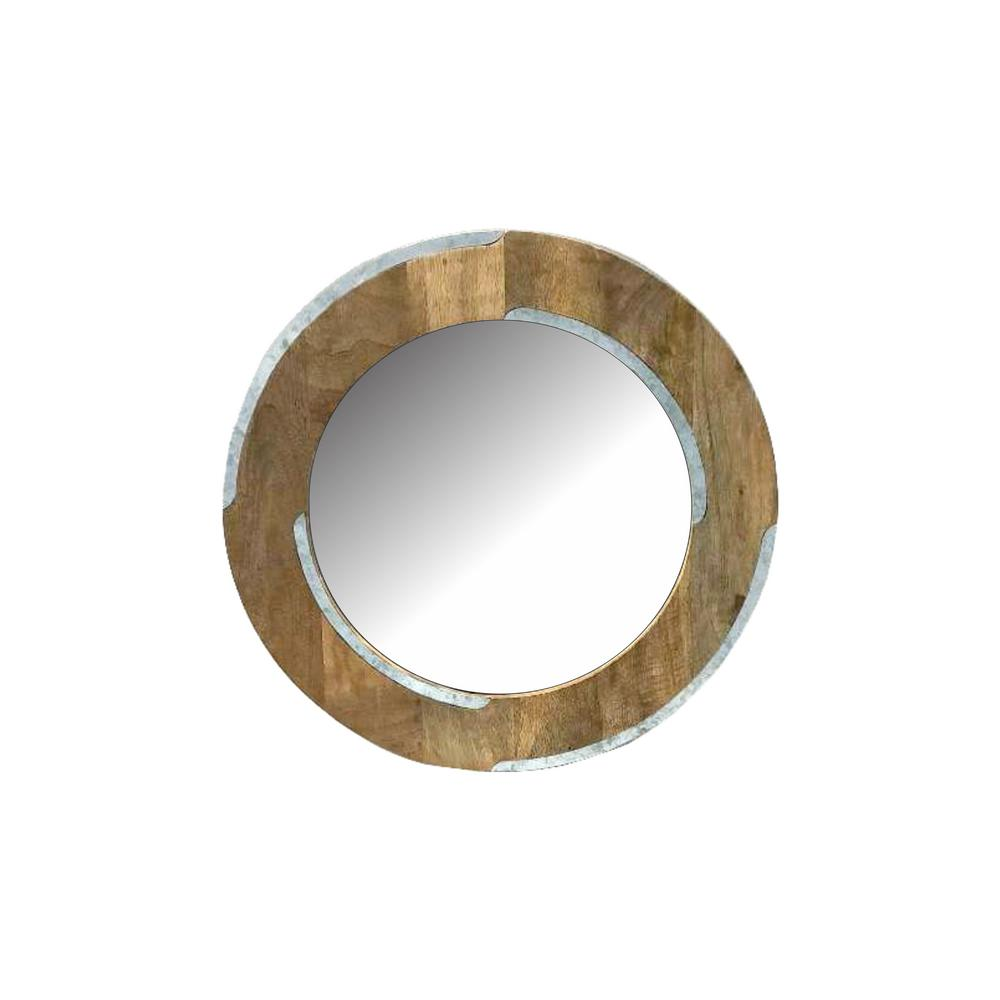 RASHI ENTERPRISES Round Wood/Galvanized with Mirror was $49.95 now $30.72 (38.0% off)
