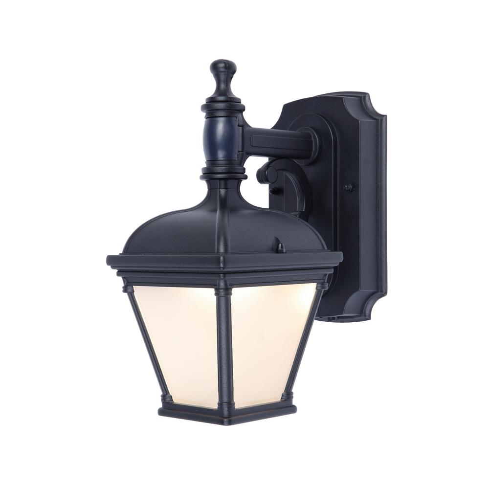Bon 1 Light Black Motion Activated Outdoor Integrated LED Wall Mount Lantern