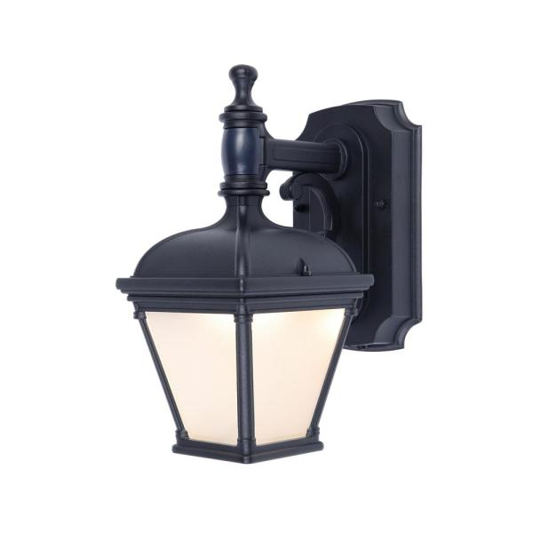 1-Light Black Motion Activated Outdoor Integrated LED Wall Lantern Sconce