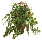 Indoor 18 Variegated Holly Artificial Plant in Decorative Planter