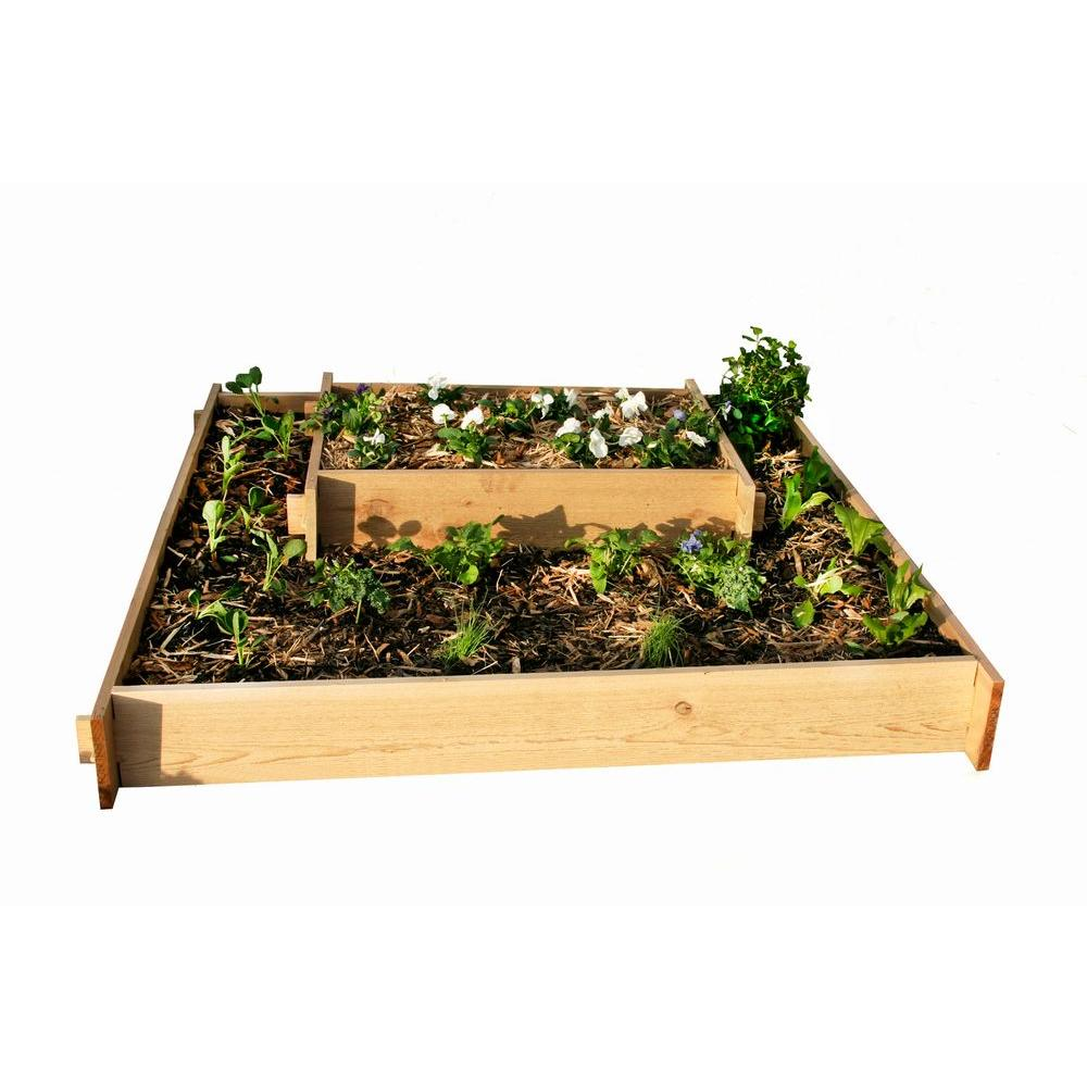 null 4 Ft. x 4 Ft. Plus 2 Ft. x 3 Ft. Shaker Style Raised Container Gardening - Cascading Beds-DISCONTINUED