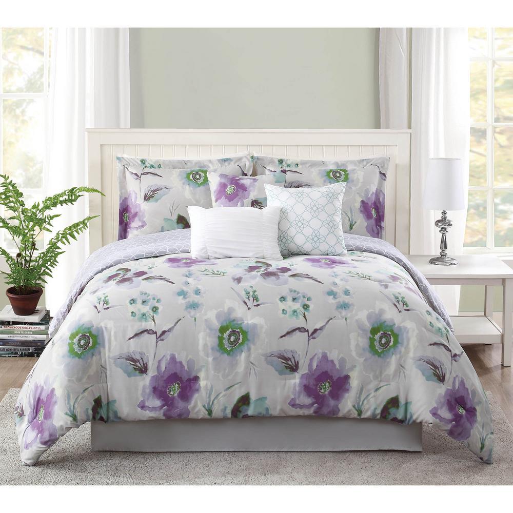. Studio 17 Mariana Lavender Grey 7 Piece Full Queen Comforter Set
