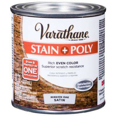 8 oz. Mission Oak Satin Oil-Based Interior Stain and Polyurethane (4-Pack)