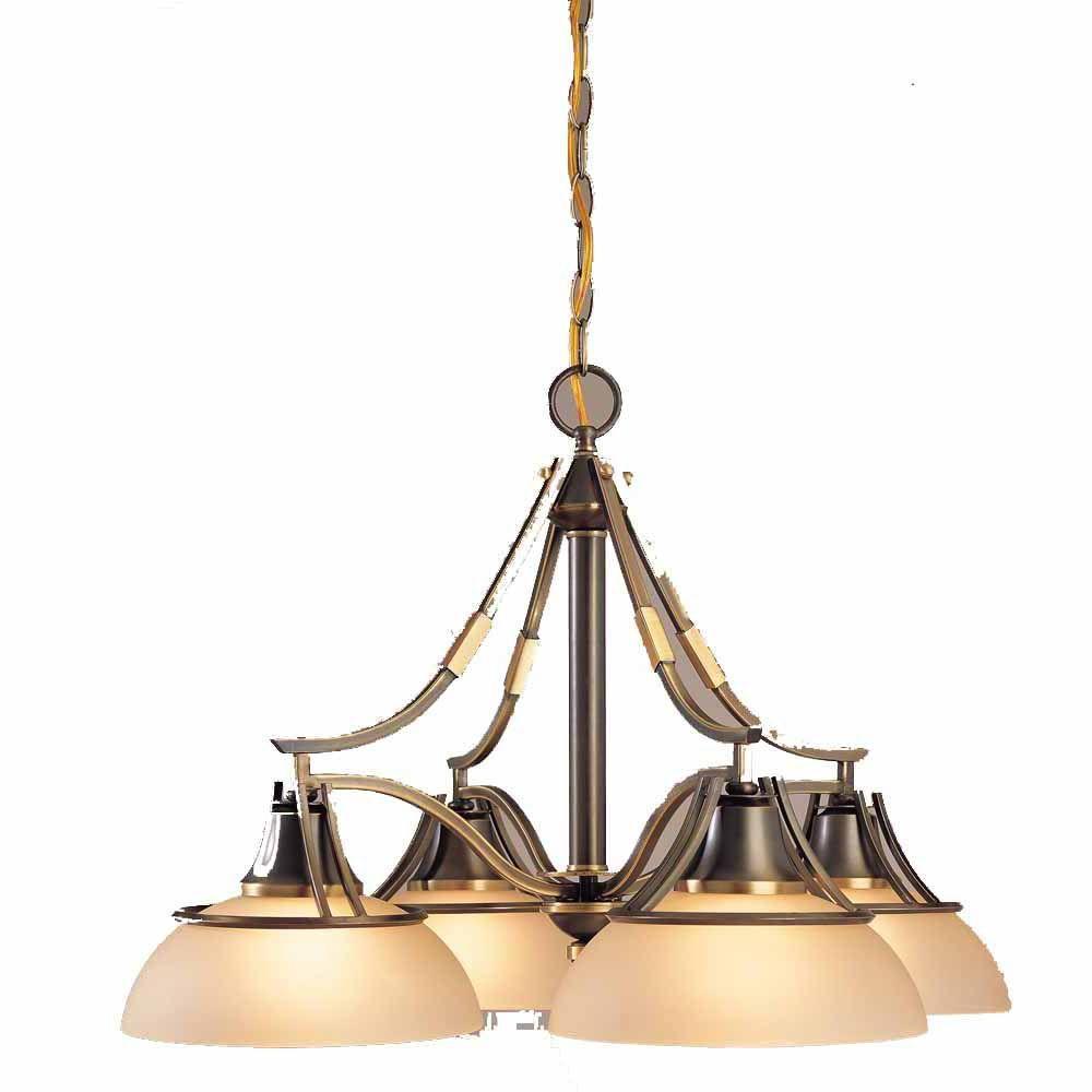 Filament Design Lenor 4-Light Restoration Brass Incandescent Ceiling Chandelier
