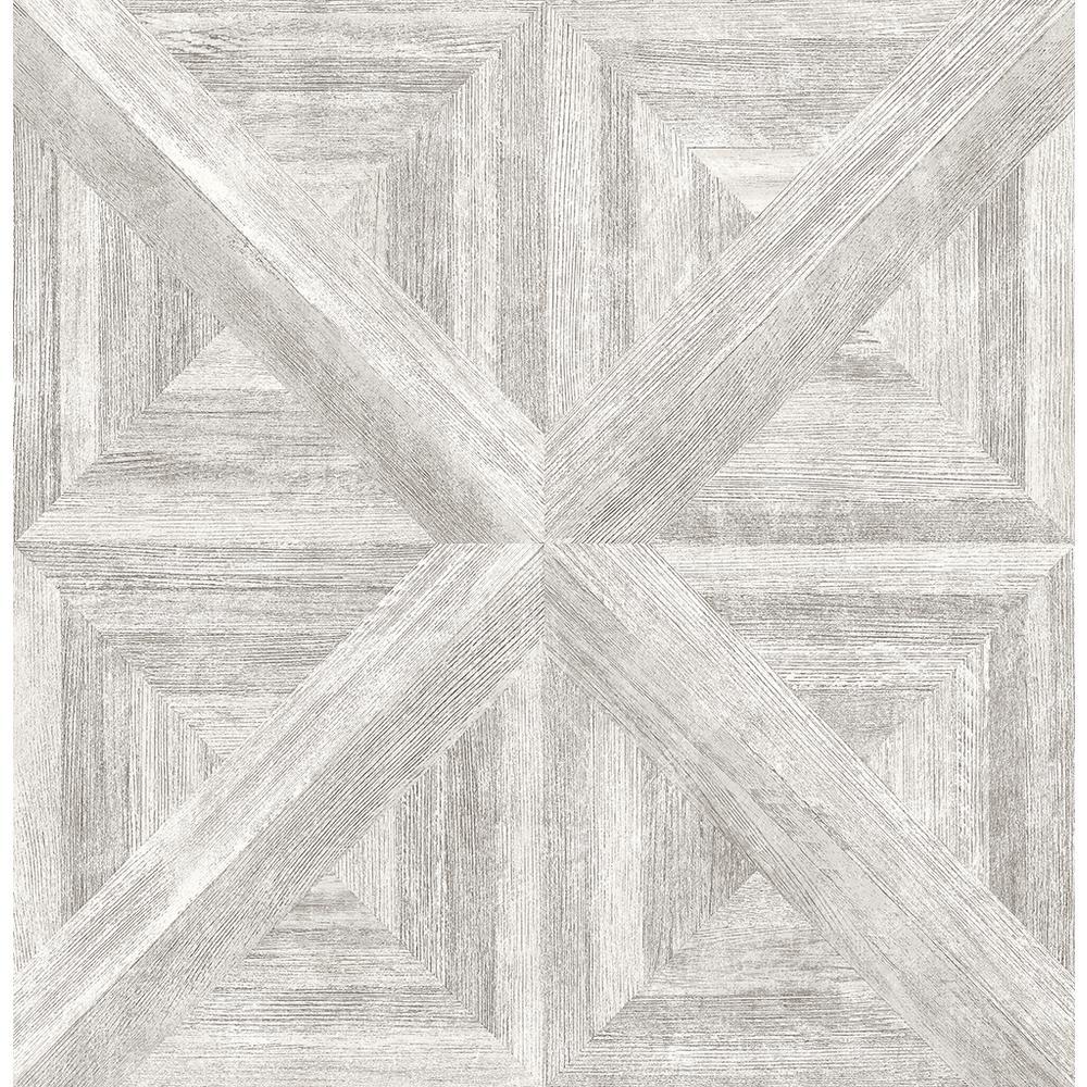 A-Street 56.4 sq. ft. Carriage House White Geometric Wood Wallpaper 2540-24017