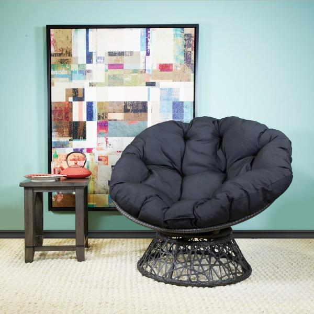 Grey Cushion Frame Papasan Chair with 360-degree Swivel