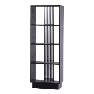 76 in. Black Wood 4-shelf Accent Bookcase with Open Back