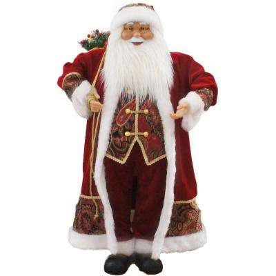 36 in. Christmas Music and Motion Santa with Paisley Vest