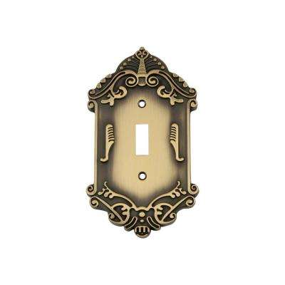 Victorian Switch Plate with Single Toggle in Antique Brass