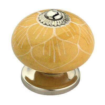 Stone Pattern 1-5/8 in. (42 mm) Yellow Cabinet Knob