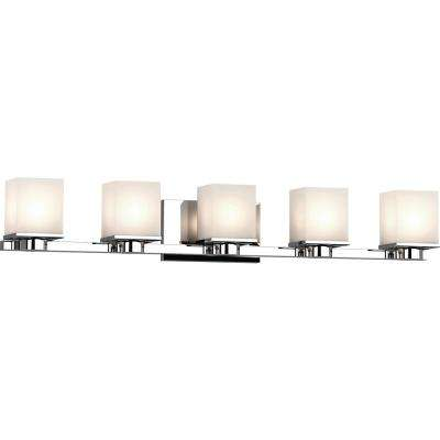 Sharyn 5-Light 8 in. Chrome Indoor Bathroom Vanity Wall Sconce or Wall Mount with Frosted Glass Square Rectangle Shades
