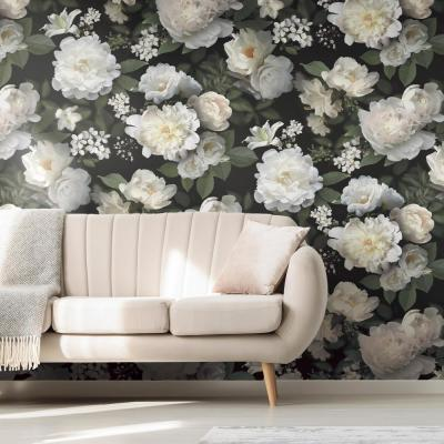 Black Photographic Floral Mural Vinyl Peelable Wallpaper (Covers 60 sq. ft.)