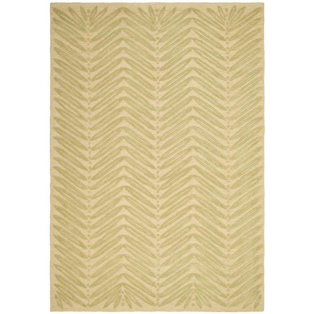 Martha Stewart Chevron Leaves Oolong Tea Green 5 ft. x 8