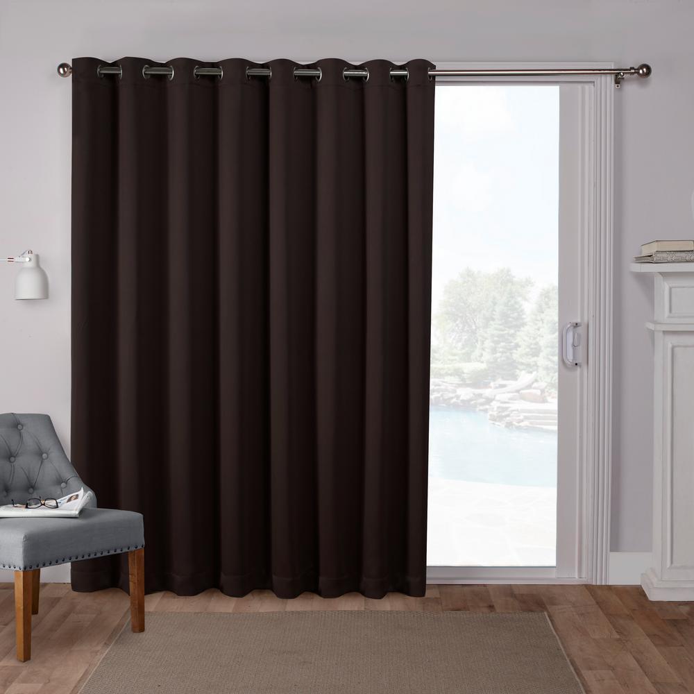 Sateen Patio 100 in. W x 84 in. L Woven Blackout Grommet Top Curtain Panel in Espresso (1 Panel)