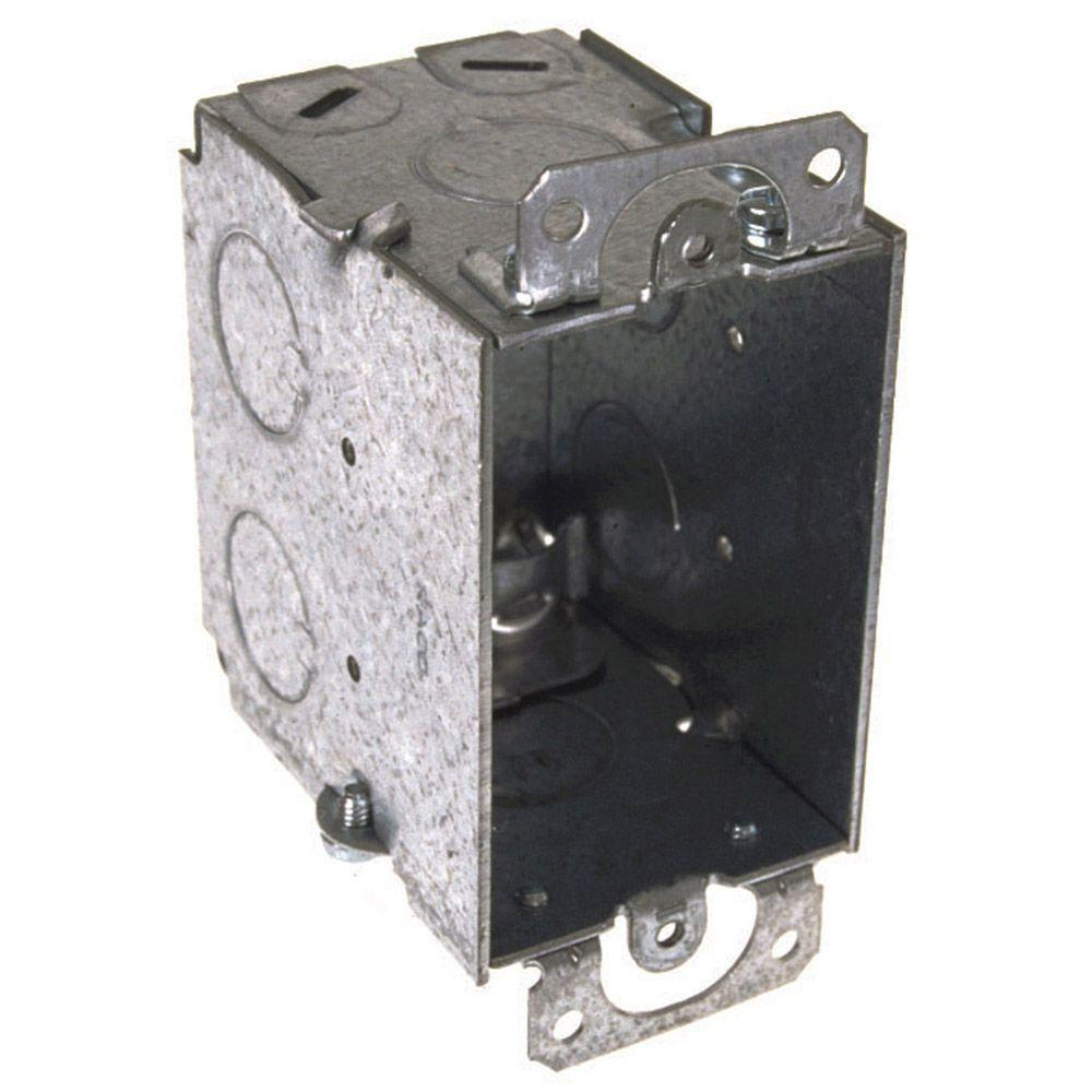 RACO 2-3/4 in. Deep 3 in. x 2 in. -Gang Switch Box with NMSC Clamps, (3) 1/2 in. Knockouts, Ears (25-Pack)