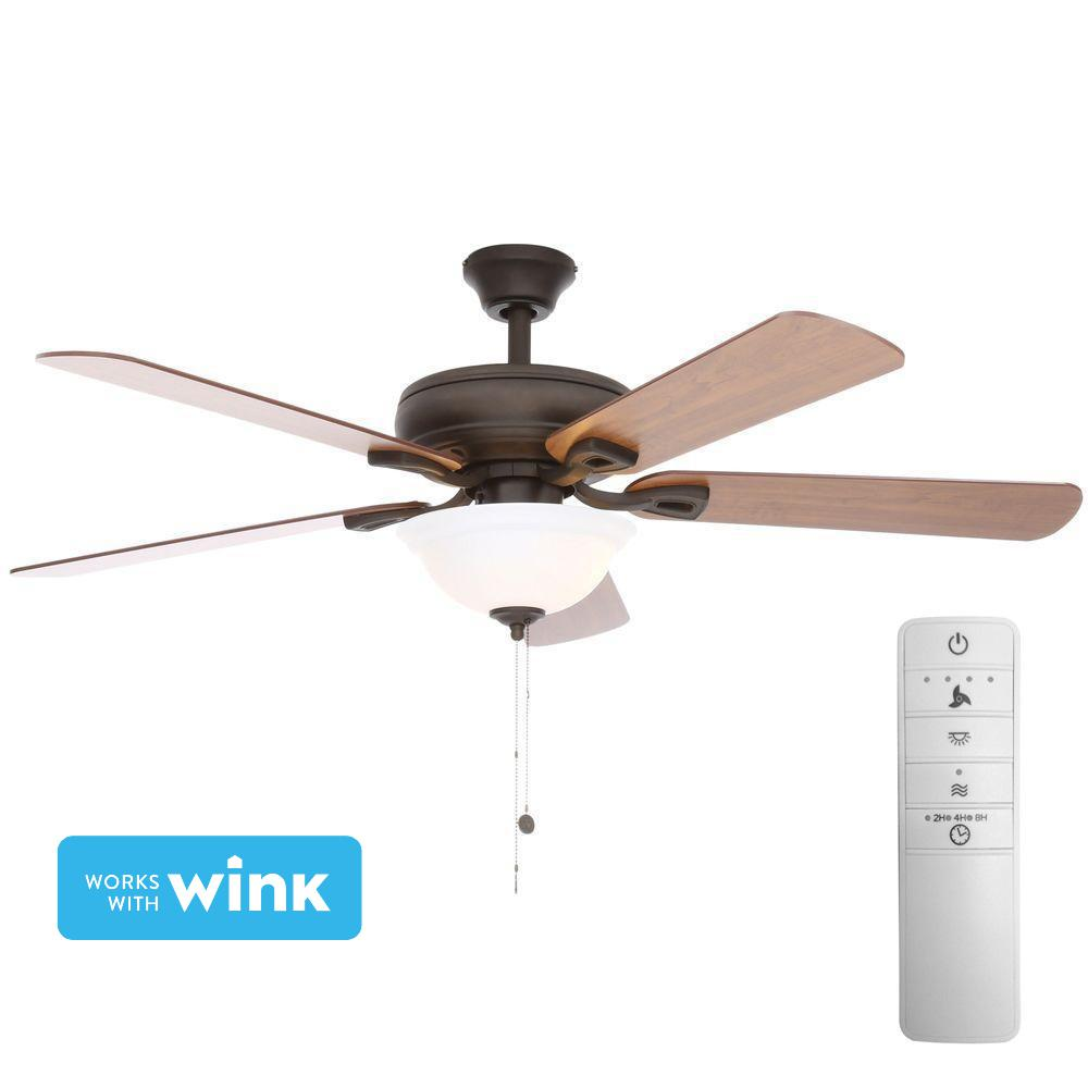 Hampton Bay Rothley 52 In Led Indoor Oil Rubbed Bronze Smart Ceiling Fan With