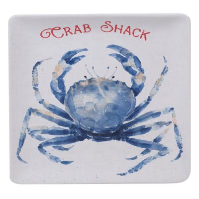 Nautical Life Multi-Colored 12.5 in. Earthenware Square Crab Platter