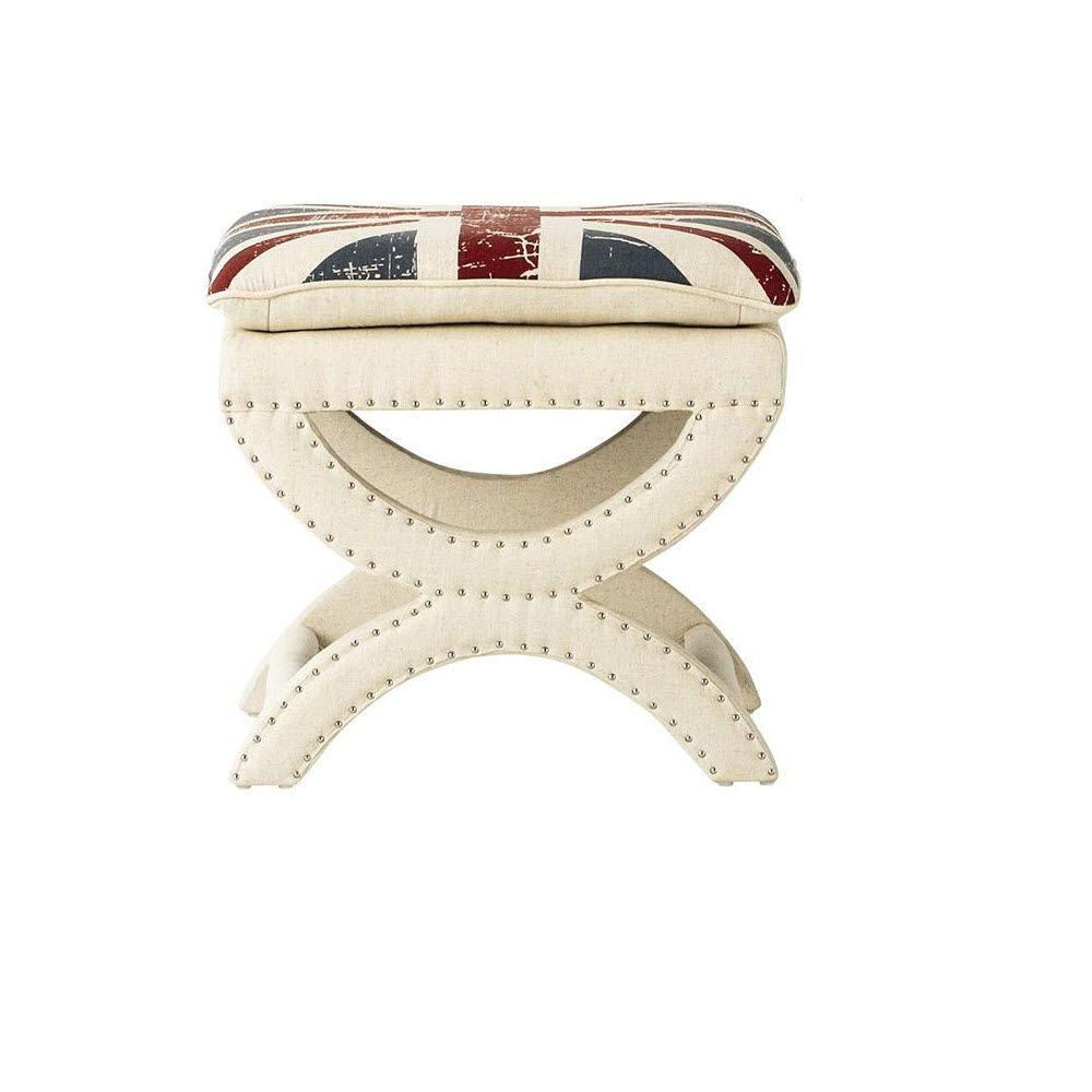 Home Decorators Collection Valencia 19-1/2 in. Vanity Stool in Union Jack Beige