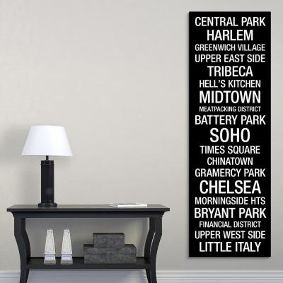 """Bus Roll: New York City Neighborhoods"" by Kate Lillyson Canvas Wall Art"
