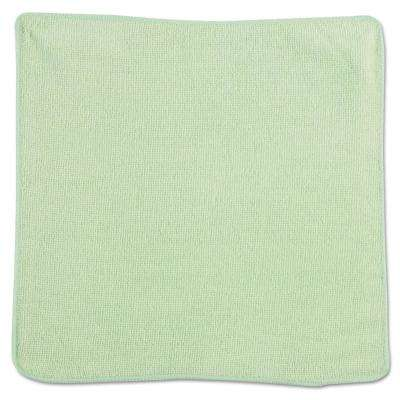 12 in. x 12 in. Light Commercial Green Microfiber Cloth (24-Count)