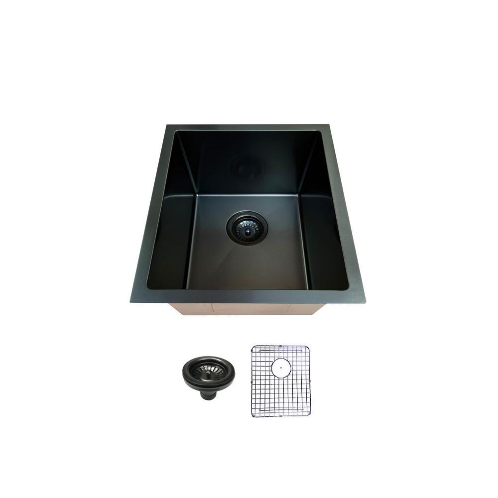 Black Stainless Steel 16 in. Single Bowl Undermount Kitchen Sink
