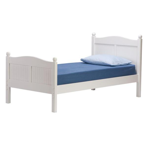 Cottage White Twin Bed with Headboard and Footboard 9811500