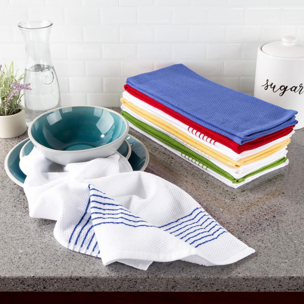 Lavish Home Multi Color Diamond Weave Striped And Solid Color Cotton Kitchen Towel Set 8 Pieces 69hd 003kt The Home Depot