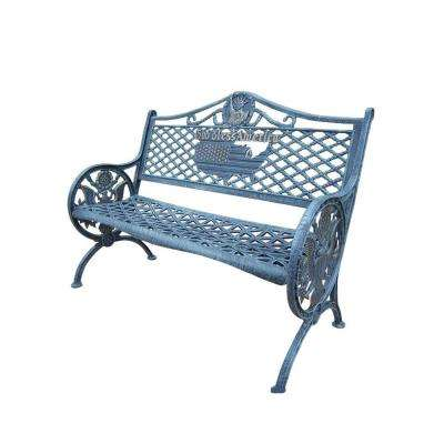 God Bless America Cast Aluminum Patio Bench in Antique Verdi