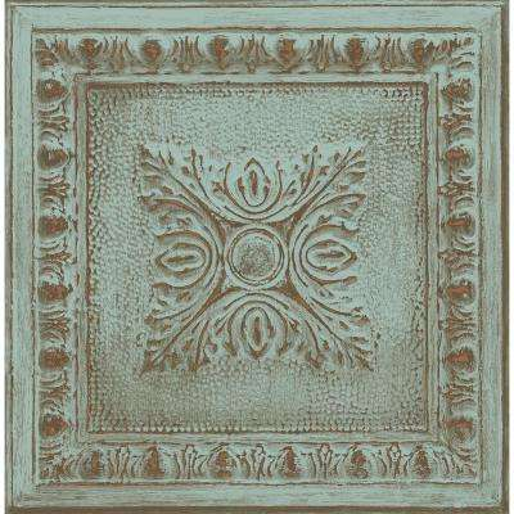 Ornamental Turquoise Tin Tile Wallpaper
