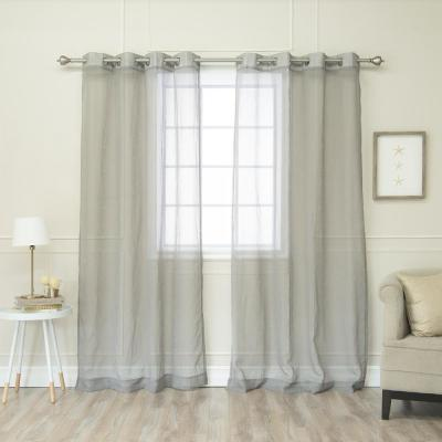 84 in. L Grey Sheer Star Cut Out Curtain (2-Pack)