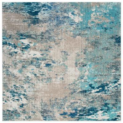 Madison Blue/Gray 3 ft. x 3 ft. Square Area Rug