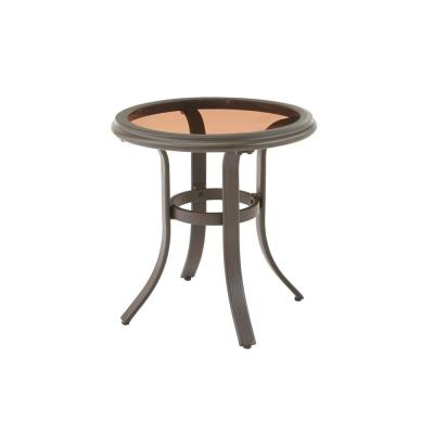 Riverbrook Espresso Brown Round Glass Top Aluminum Outdoor Patio Side Table