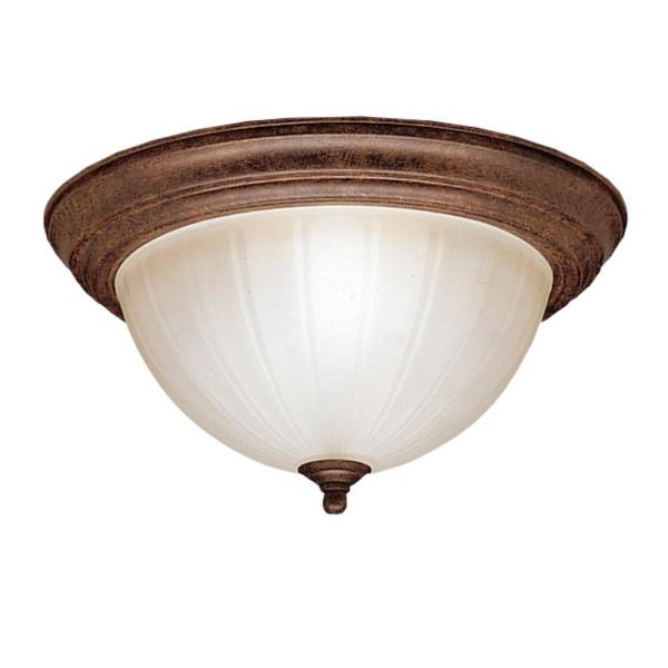 Independence 13.25 in. 2-Light Tannery Bronze Flush Mount Ceiling Light with Stain Etched Glass