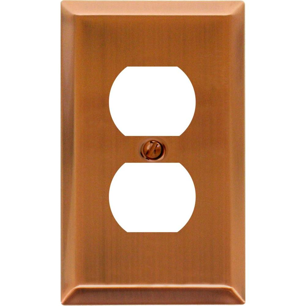 Amerelle Century 1 Duplex Steel Wall Plate - Antique Copper
