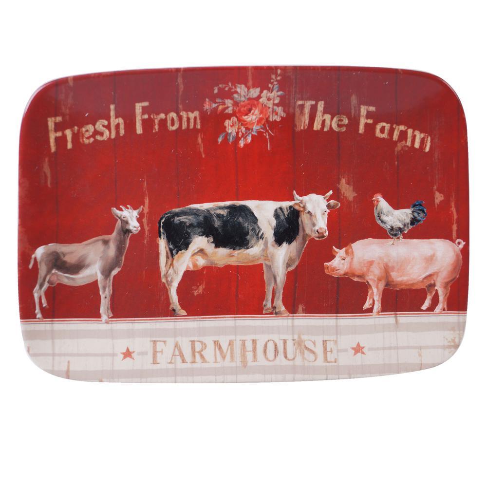 Farmhouse Multi-Colored 14 in. Earthenware Rectangular Platter