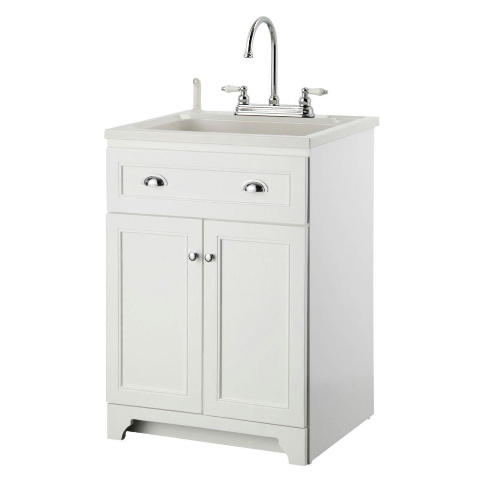 Foremost Keats 24 In Laundry Vanity White And Abs Sink Faucet Kit