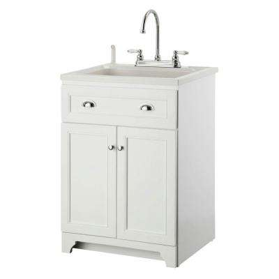 Keats 24 in. Laundry Vanity in White and ABS Sink in White and Faucet Kit