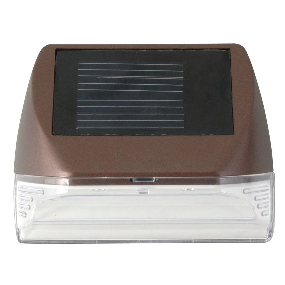 Moonrays Solar Powered Mini LED Bronze Outdoor Deck Light
