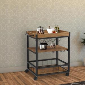 36.4 in. H Black and Brown Wood and Metal Kitchen Cart with Caster Wheels